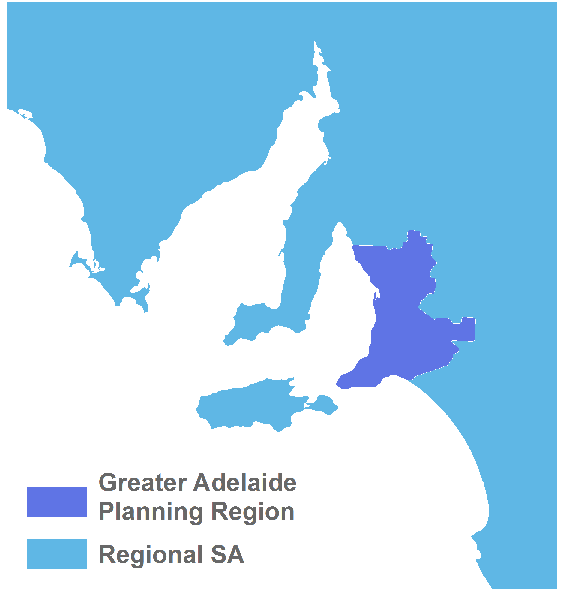 Map of Greater Adelaide Planning Region and Regional SA